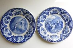 French Antique Porcelain Creil Et Montereau Small Blue and White plates set of 2 on Etsy, $90.00