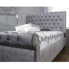 orbit silver velvet bed frame