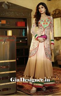 shilpa Shetty Face Color Charming Resham Work Anarkali Bollywood Replica Suit