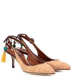Dolce & Gabbana Bellucci Snakeskin-trimmed Raffia Sandals For Spring-Summer 2017
