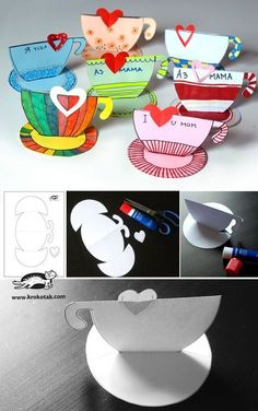 Teacup printable for story time Teapot Crafts, Cup Crafts, Diy And Crafts, Paper Crafts, Diy Paper, Mothers Day Crafts For Kids, Mothers Day Cards, Fathers Day Crafts, Craft Activities