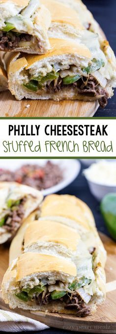Philly Cheesesteak Stuffed French Bread: Flavorful tender meat, fragrant and delicious onions and peppers, melty cheese, and a crusty french bread, perfect for a crowd, and easy to make too! #ad #YesYouCAN - Eazy Peazy Mealz