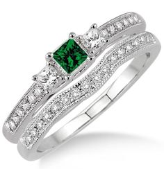 1.5 Carat Emerald & Diamond Three Stone Bridal Set on 10k White Gold. The vintage Emerald and diamond bridal wedding ring set for woman is now available at sale price for limited time. The order comes with free shipping. Give her the perfect Emerald and diamond engagement ring set | Price: $569.00 USD on Shygems