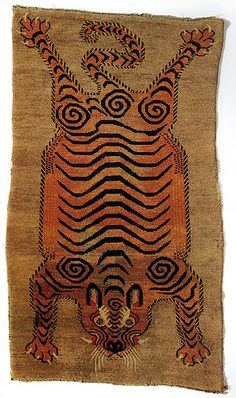 century Tibetan tiger rugs Of the old Tibetan tiger rugs there are three basic groups. First are 'flayed' tiger rugs, pelts with arms, claws and head depicted. Diy Carpet, Magic Carpet, Modern Carpet, Rugs On Carpet, Carpets, Cheap Carpet, Tibetan Rugs, Tibetan Art, Textile Patterns