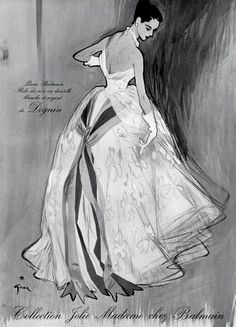 Illustration for chez Balmain, by Rene Gruau, 1952