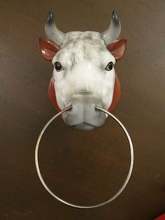 Cast Iron Longhorn Bull With Nose Ring Wall Decor By