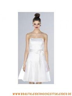 Süßes Brautjungfernkleid aus Satin im Prinzessinstil A-Linie Knielang