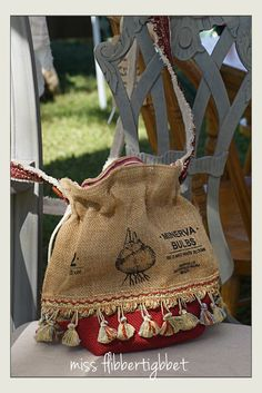 Purse made from a burlap bulb bag