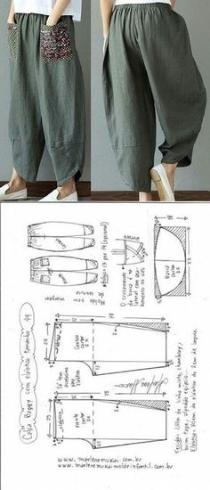Baggy pants with elastic waistband DIY - shaping, cutting and stitching - Marlene Mukai . - Baggy trousers with elastic waistband DIY – shaping, cutting and stitching – Marlene Mukai – - Diy Clothing, Clothing Patterns, Dress Patterns, Sewing Patterns, Sewing Pants, Sewing Clothes, Dress Sewing, Fashion Sewing, Diy Fashion