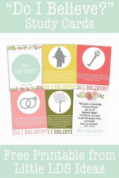 "LDS Teaching Tips for General Conference: ""Do I Believe?"" Includes these cute Study Cards. Free Printable from Little LDS Ideas. Relief Society Handouts, Relief Society Lessons, Relief Society Activities, Conference Talks, General Conference, Visiting Teaching, Teaching Tips, Fhe Lessons, Primary Lessons"