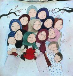 Anime Muslim, Muslim Hijab, Happy Cartoon, Cute Cartoon, Hijab Drawing, Beautiful Muslim Women, Beautiful Hijab, Islamic Cartoon, Hijab Cartoon