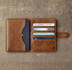RH's Italian Leather Passport Cover:Designed for journeys near and far, epic and everyday, our Italian leather accessories are as luxe as they are practical. Crafted with care by a Italian tannery, each is made from the finest English hides, c All Gadge Leather Wallet Pattern, Leather Passport Wallet, Handmade Leather Wallet, Leather Gifts, Leather Art, Leather Design, Leather Cover, Leather Tooling, Passport Cover
