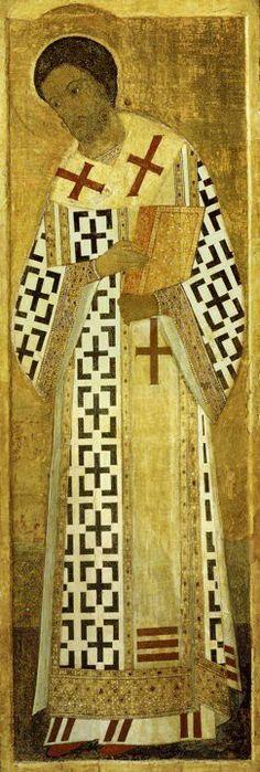 Saint Jean Chrysostome par Andreï Roublev (1408) / 3,13 m x 1,05 m, restaurée en 1957 / Icône conservée à la Galerie Tretyakov de Moscou