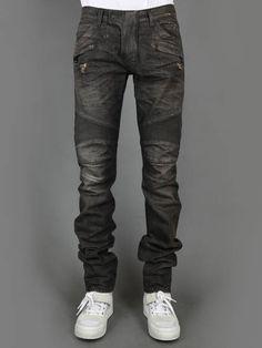 b7f07ccb Balmain's signature denim biker jeans Biker Pants, Men Trousers, Biker  Boys, Ripped Jeans