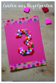 Basteln mit Bügelperlen - Schnelle Geburtstagskarte
