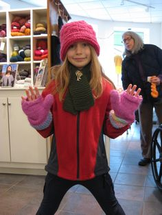 Ginny in a JPK hat, mittens, and scarf. Go Ginny...we are inspired.