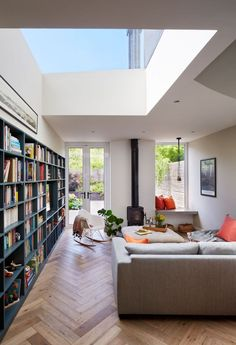 Modern London living room with large sky window design living room modern The Nordroom Apartment Interior Design, Modern Interior Design, Interior Design Living Room, Living Room Designs, Interior Architecture, French Interior, Library Architecture, Style At Home, Living Room Modern