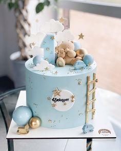 Baby 1st Birthday Cake, Birthday Cake Roses, Baby Boy Cakes, Girl Cakes, Gateau Baby Shower Garcon, Christening Cake Girls, Fondant Cake Designs, Torta Baby Shower, Party