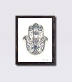 Large Print Hamsa Hand Drawing, Black & White Hamsa Amulet Print, Ethnic Art Wall decor, Floral Hamsa Hand Tattoo Drawing, Hamsa Hand Art by DHANAdesign on Etsy