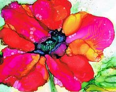 Poppy Alcohol Ink Painting Art Print