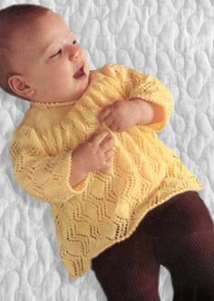 Little Daffodil Vintage Knitting, Free Knitting, Baby Knitting, Knitted Baby, Baby Shower Gifts, Baby Gifts, Lace Knitting Patterns, Christening Gifts, Garter Stitch