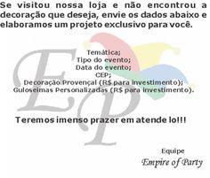Loja especializada em decoração de festas - Empire of Party - artigos para festas e eventos