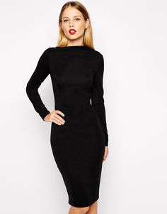 Black pencil dress with asymmetric neck and long sleeves