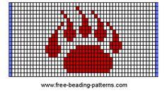 Bead loom weaving chart: bears-thin-lines-detail