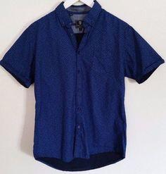 Steel & Jelly London Shirt M Blue Black Floral Button Down Shirt 100% Cotton #SteelJelly #ButtonFront
