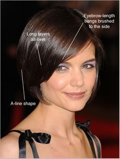 Katie Holmes haircut inverted bob