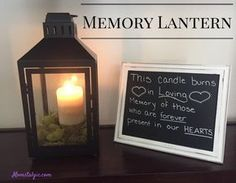 This Memory Lantern is a great way to remember your loved ones on your special day. Whether you use this at your wedding or a family reunion, it will bring comfort to know that your loved ones are being remembered. Easy DIY for your memorial table. Family Reunion Decorations, Family Reunion Themes, Reunion Centerpieces, Family Reunions, Class Reunion Ideas, Planning A Family Reunion, Wedding Decorations, Wedding Memorial, Wedding Remembrance