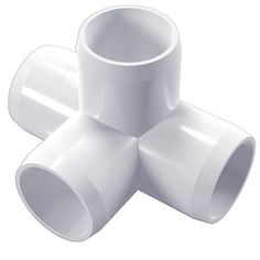 """1/2"""" 4-Way PVC Furniture Grade Fitting (White) - Side Outlet Tee - Pipeworks"""