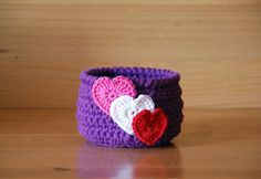 Crochet basket Valentine's Day gift purple by TheKnottyNeedle