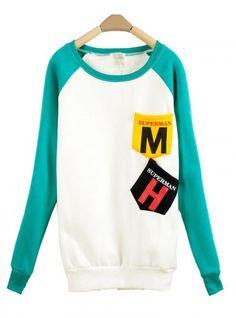 Sky Blue MM Pocket Round Neck Long-sleeved Sweatshirt$39.00