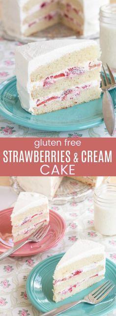 Gluten Free Strawberries and Cream Cake - layers of homemade gluten free white cake, juicy strawberries, and fresh whipped cream will be the best strawberry dessert recipe for the spring and summer. #cupcakesandkalechips #glutenfree #glutenfreecake #glutenfreedessert #glutenfreebaking #layercake #strawberries #cakerecipe