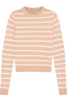 peach + white stripes