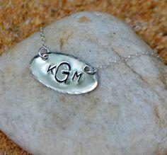 Silver Monogram Necklace by SeaSaltShop on Etsy, $24.00