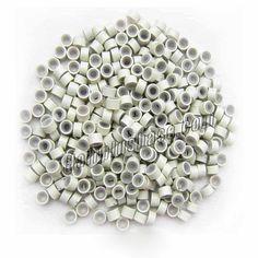 1000pcs White Aluminium Silicone Beads for Hair Extensions 1000pcs los granos de silicona de aluminio blanco para las extensiones de cabello