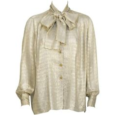 1980's Chanel Gold Silk Sheer Blouse with Pussy Bow (30,695 PHP) ❤ liked on Polyvore featuring tops, blouses, sheer blouse, see through tops, bow collar blouse, gold top and see through blouse