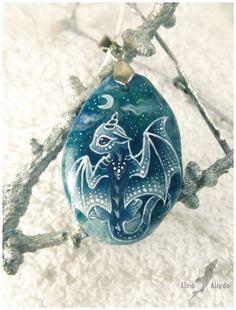 Snowy lunar baby dragon - stone painting by AlviaAlcedo.deviantart.com on @deviantART
