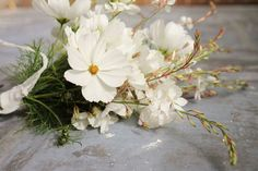 Cosmos purity & gaura 'The Bride', simple classic bouquet for a mid/late summer bridesmaid, flower girl or even bride. Tied with recycled sari silk ribbon