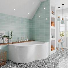 Small Full Bathroom, Small Bathroom Interior, Big Bathrooms, Modern Bathroom Design, Small Baths, Family Bathroom, Light Blue Bathrooms, Green Bathroom Tiles, Small Bathroom Designs