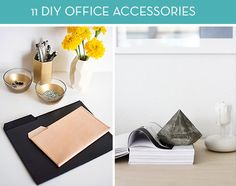 Control your power cords, tame your clutter, and add some style to your desk with these 11 DIY office accessories ideas.