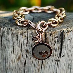 Jamie Reverse Engraved Heart in Circle Rose Gold Chain – Rustic Cuff