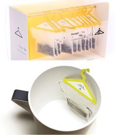 These tiny hangers are an unusual and quirky way of packaging teabags. However, they're not just for show – the hangers hook onto the side of the mug, making it simple to remove the bag once your tea has brewed.