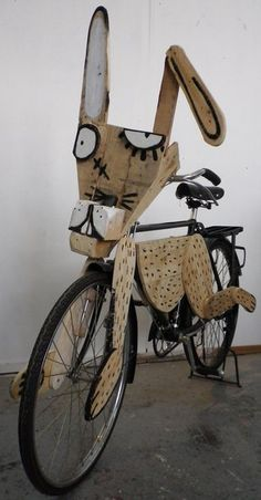 Upcycled crazy wooden bike.