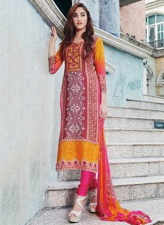 Maroon N Yellow Poly Cotton Straight Suit