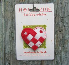 Red & White Woven Felt Heart Badge or Brooch £2.50