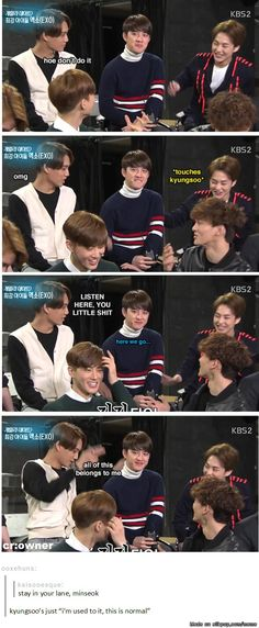 Even the oldest hyung cannot escape the jealous husband that is Kim Jongin <--- this person. XD kyungsoo is a playaah! Kaisoo, Sehun Oh, Chanyeol Baekhyun, Exo Kai, Kim Jong Dae, Xiuchen, Kim Minseok, Meme Center, Exo Memes