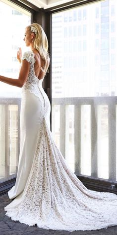 cap sleeve low back lace vintage wedding dresses with train by berta bridal